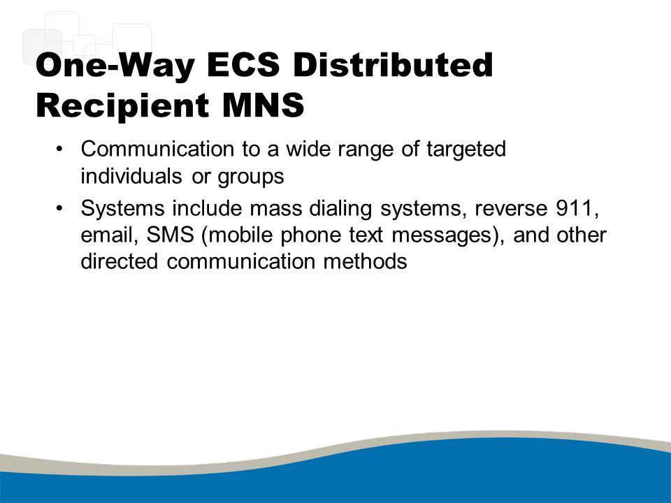 One-Way ECS Distributed Recipient MNS