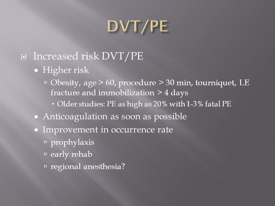 DVT/PE Increased risk DVT/PE Higher risk