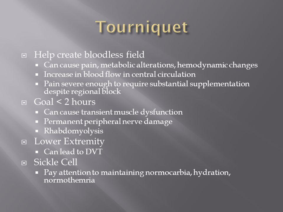 Tourniquet Help create bloodless field Goal < 2 hours