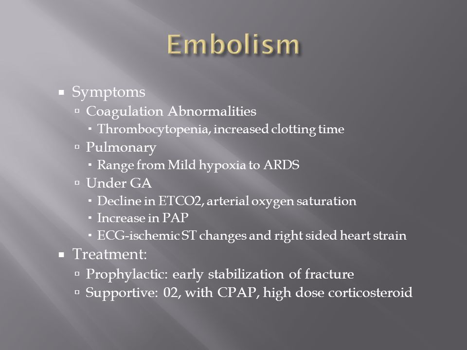 Embolism Symptoms Treatment: Coagulation Abnormalities Pulmonary