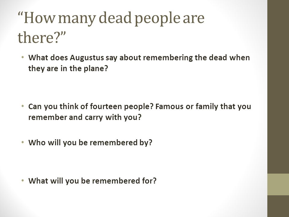 How many dead people are there