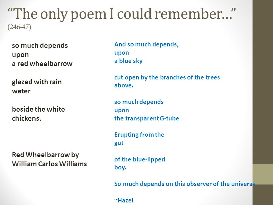 The only poem I could remember… (246-47)