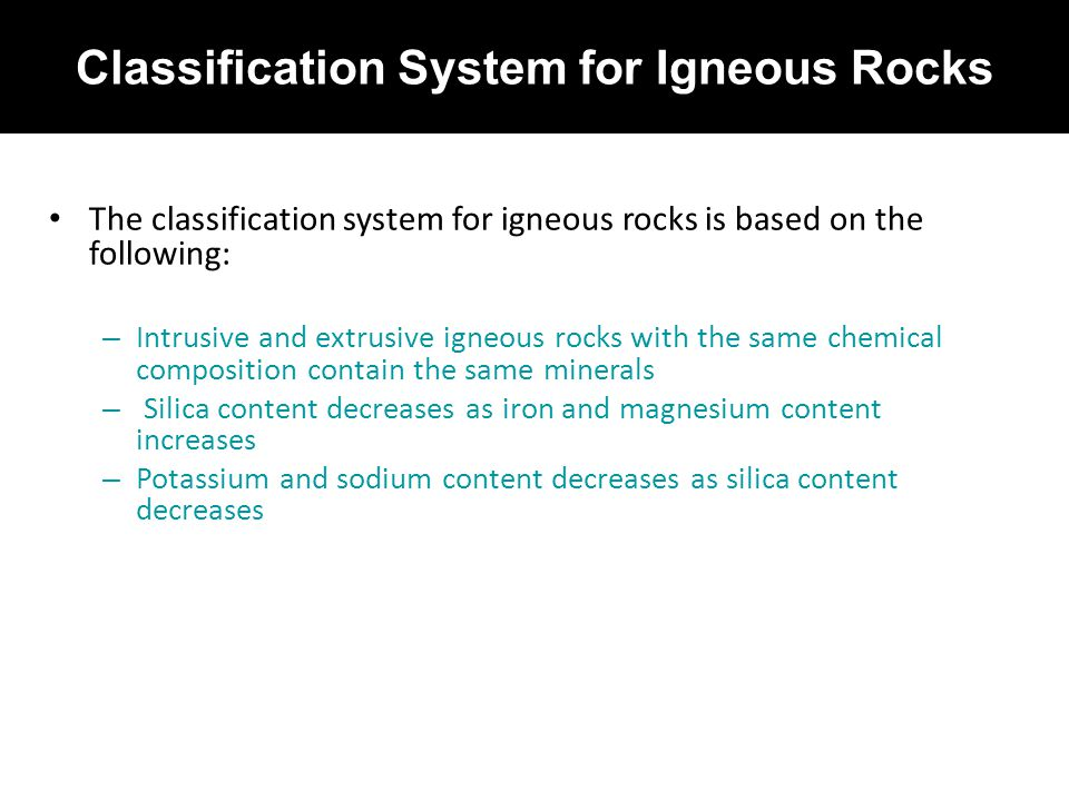 Classification System for Igneous Rocks