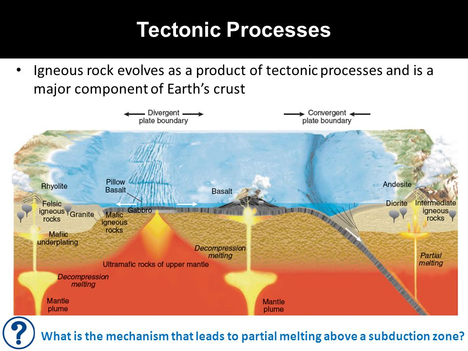 Tectonic Processes Igneous rock evolves as a product of tectonic processes and is a major component of Earth's crust.