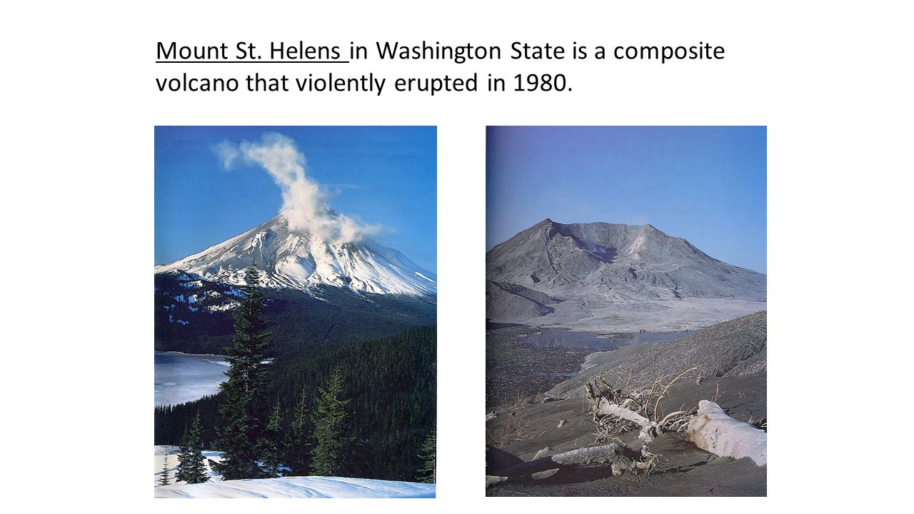 Mount St. Helens in Washington State is a composite volcano that violently erupted in 1980.