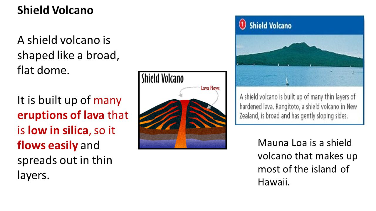 A shield volcano is shaped like a broad, flat dome.