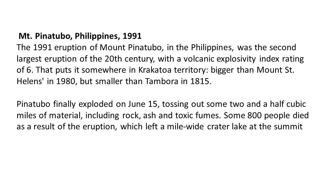 Mt. Pinatubo, Philippines, 1991