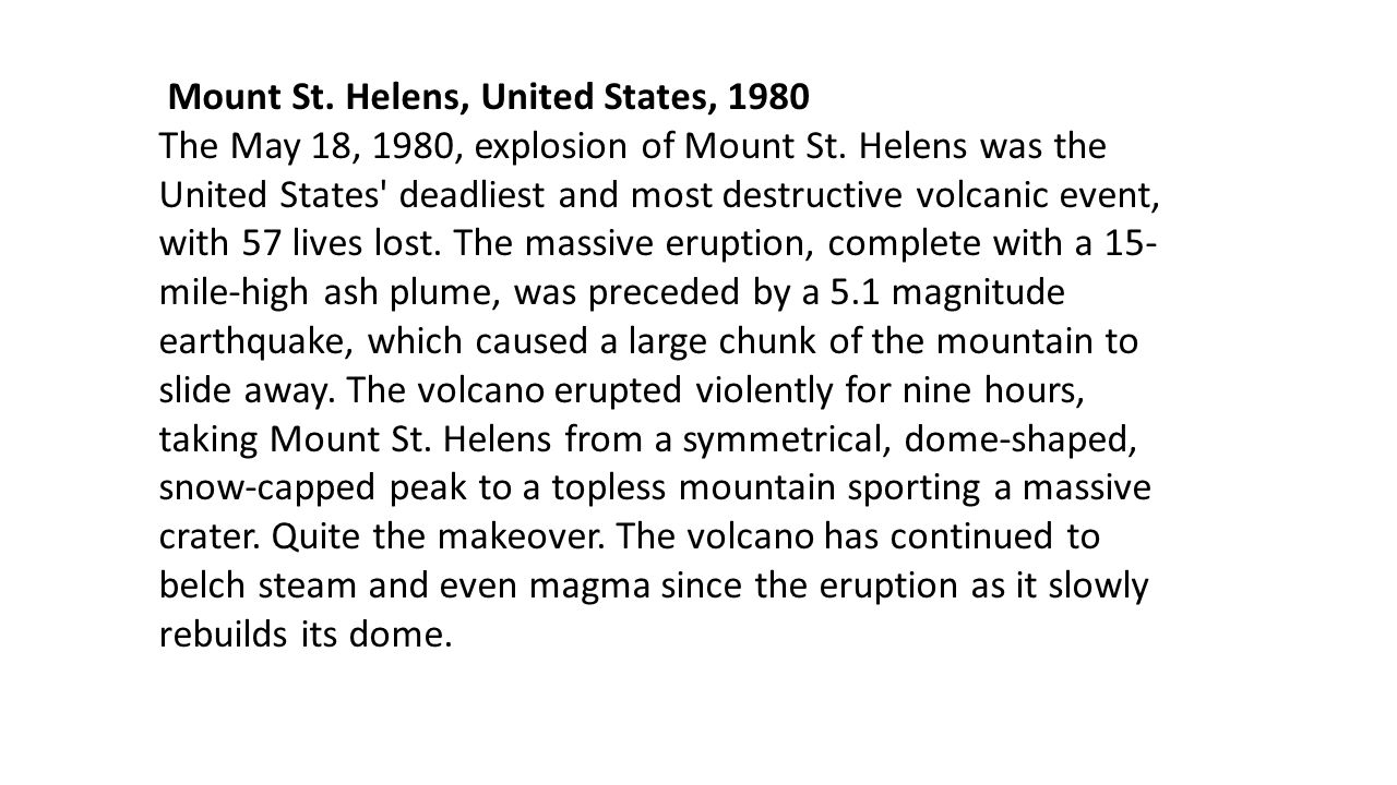 Mount St. Helens, United States, 1980