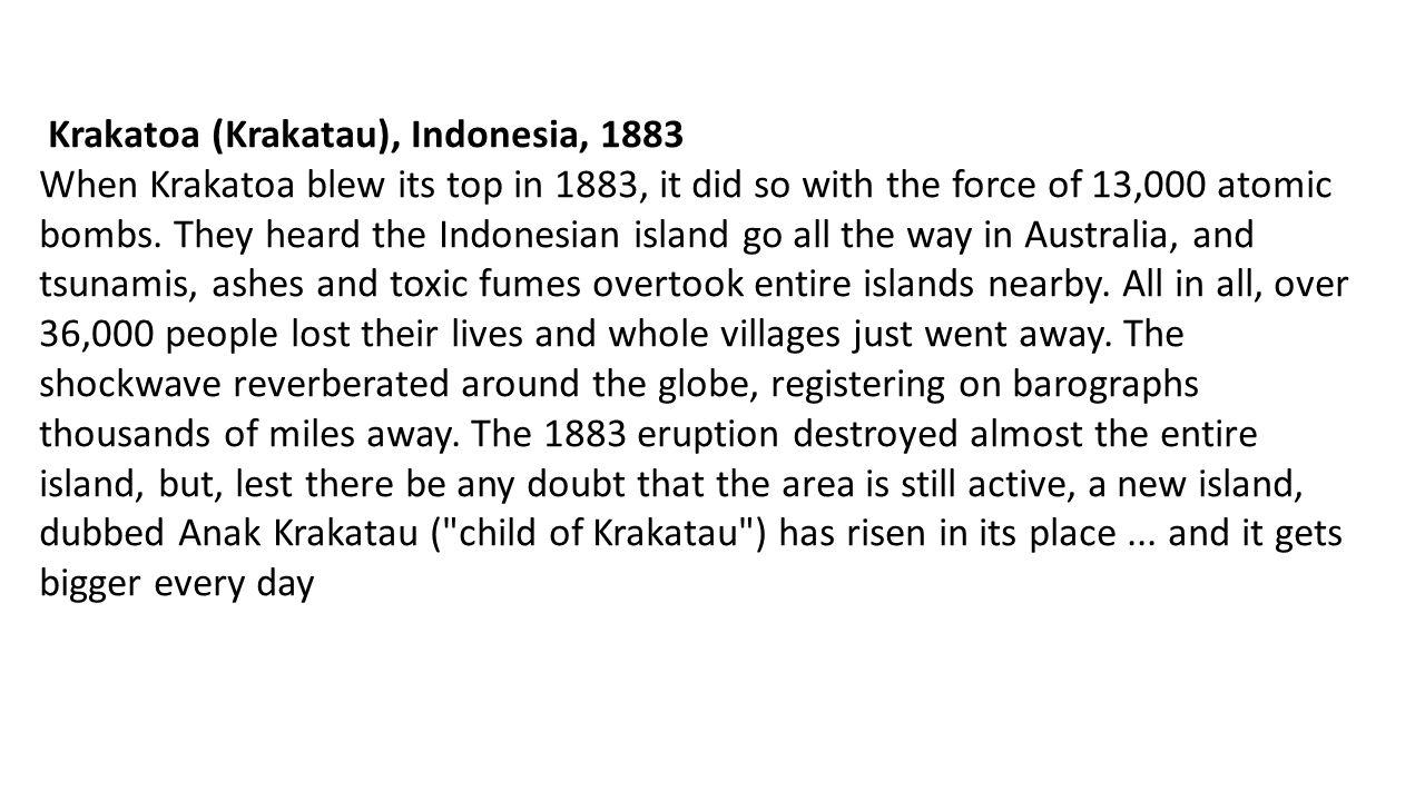Krakatoa (Krakatau), Indonesia, 1883