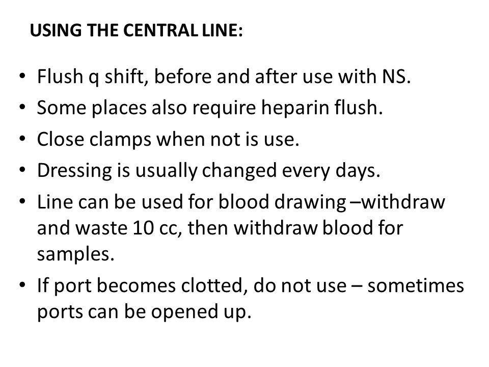 USING THE CENTRAL LINE: