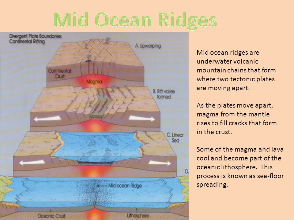 Mid Ocean Ridges Mid ocean ridges are underwater volcanic mountain chains that form where two tectonic plates are moving apart.