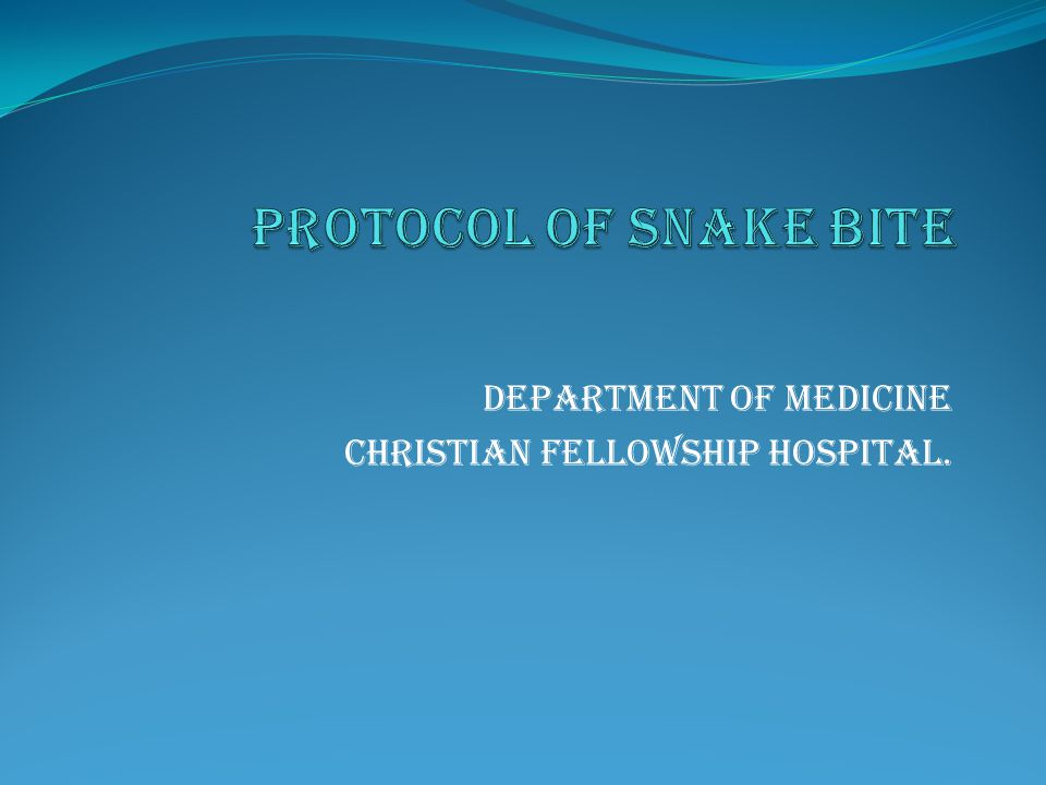 Department of medicine Christian fellowship hospital.