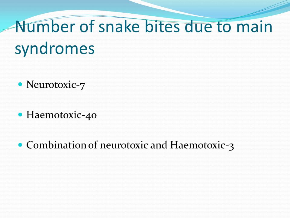 Number of snake bites due to main syndromes