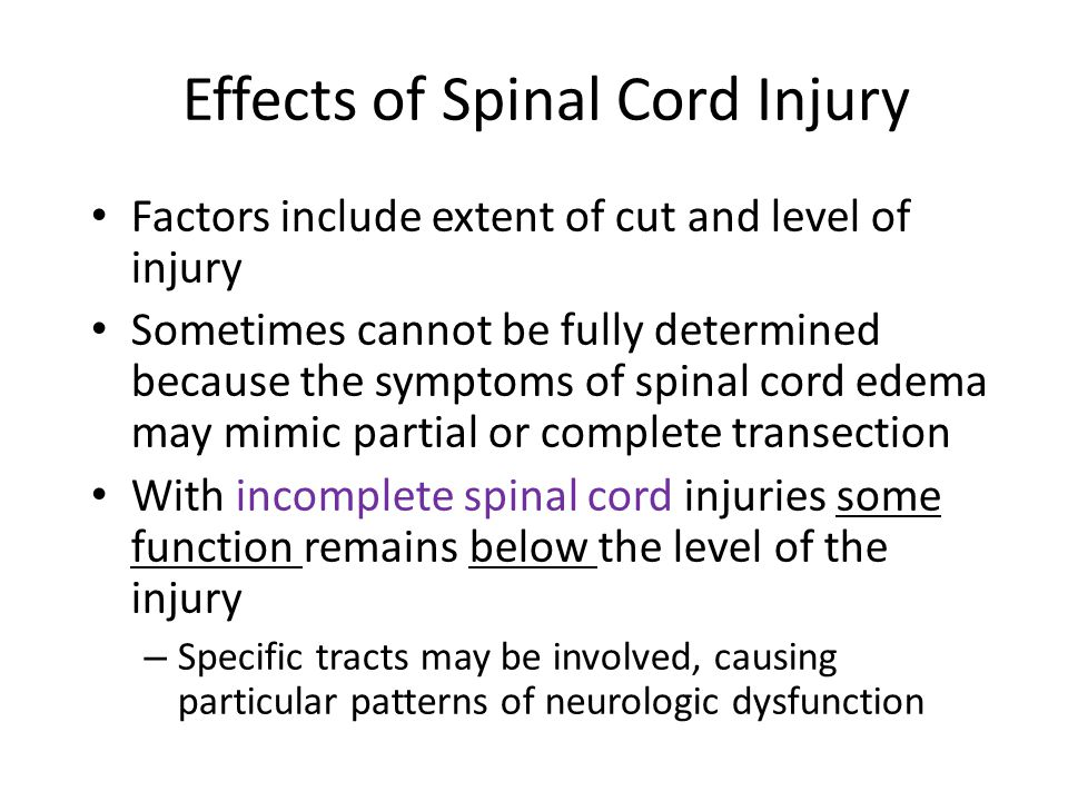 Effects of Spinal Cord Injury