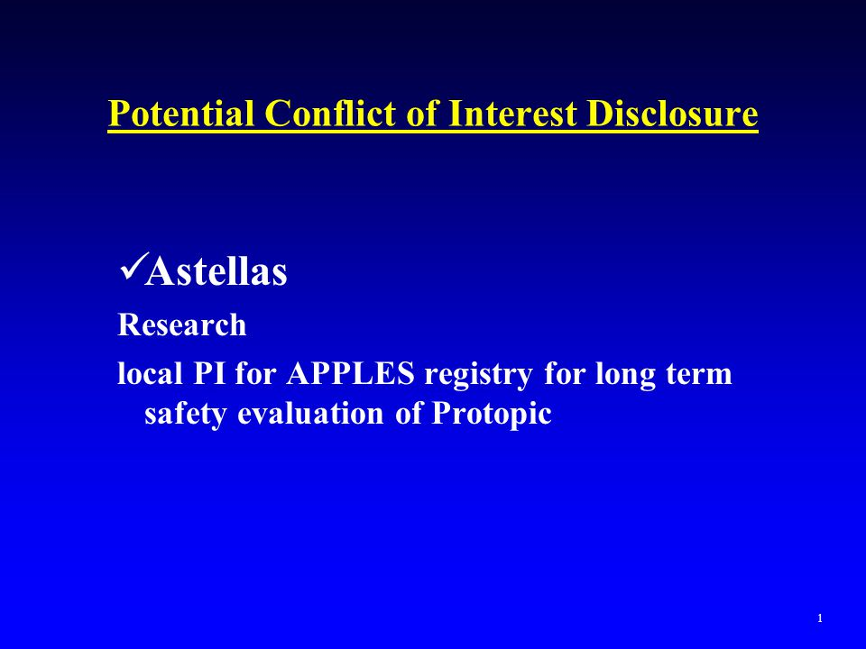 Potential Conflict of Interest Disclosure