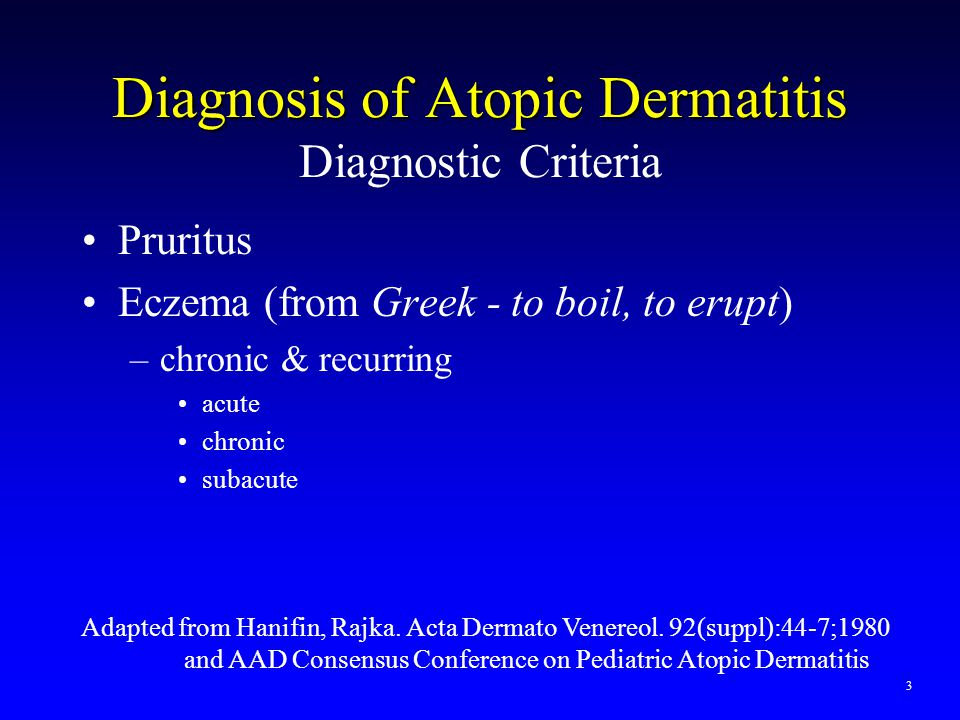 Diagnosis of Atopic Dermatitis Diagnostic Criteria