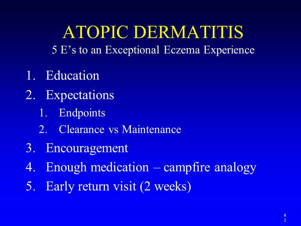 ATOPIC DERMATITIS 5 E's to an Exceptional Eczema Experience