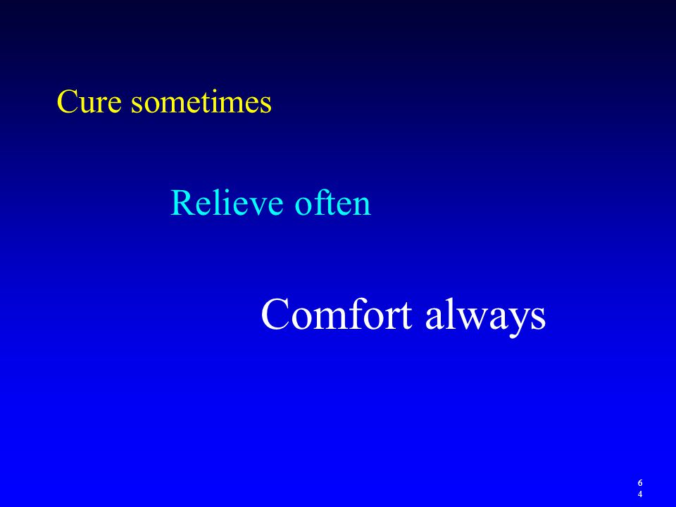 Cure sometimes Relieve often Comfort always 64