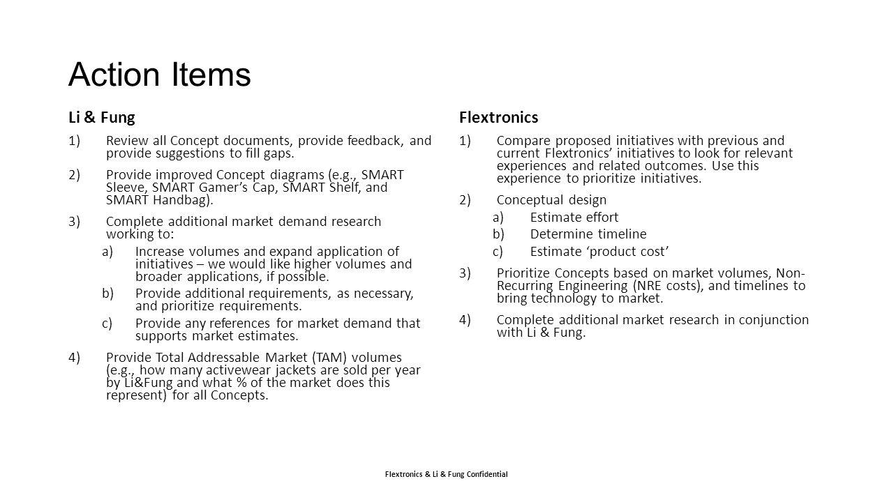 Action Items Li & Fung Flextronics