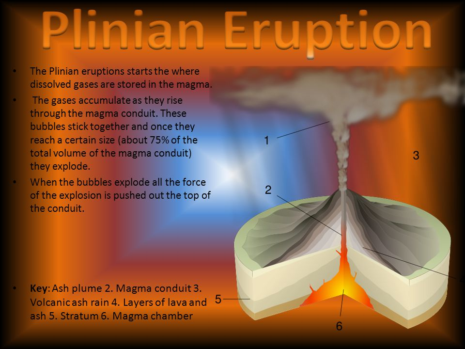Plinian Eruption The Plinian eruptions starts the where dissolved gases are stored in the magma.