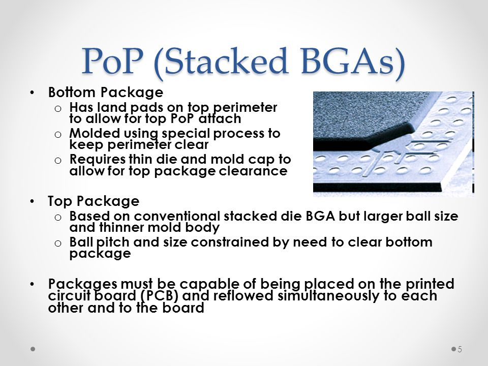 PoP (Stacked BGAs) Bottom Package Top Package