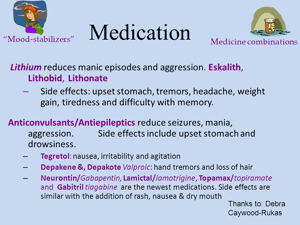Medication Mood-stabilizers Medicine combinations. Lithium reduces manic episodes and aggression. Eskalith, Lithobid, Lithonate.