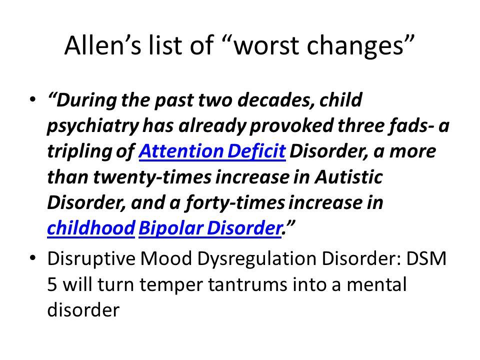 Allen's list of worst changes