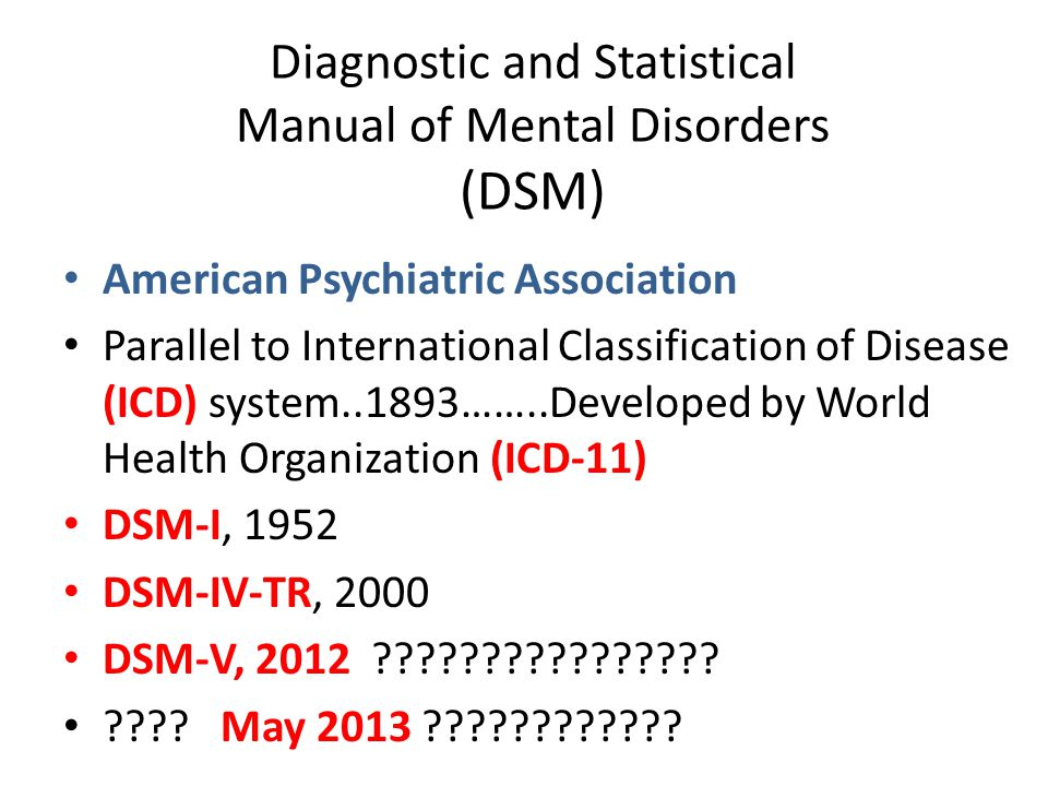 Diagnostic and Statistical Manual of Mental Disorders (DSM)