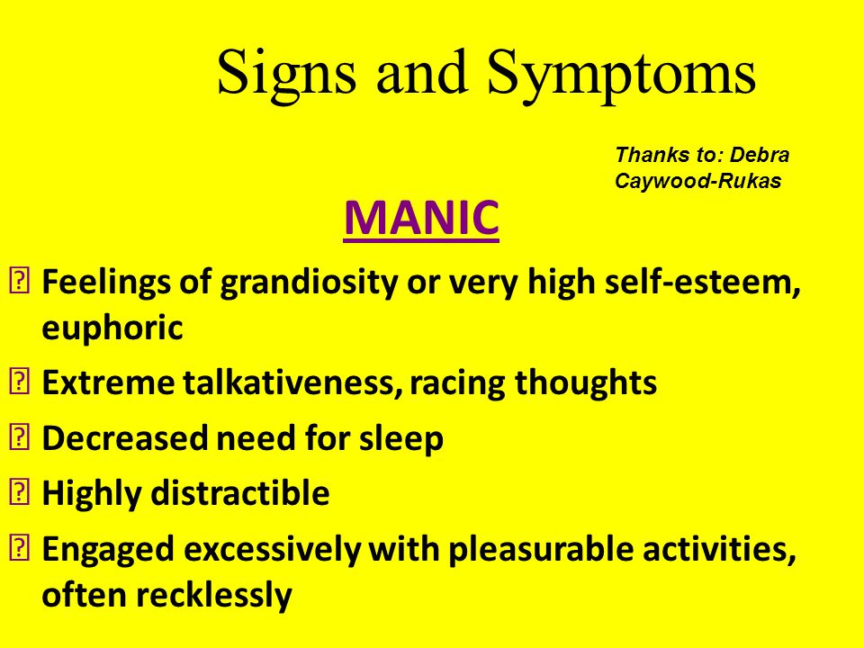 Signs and Symptoms MANIC