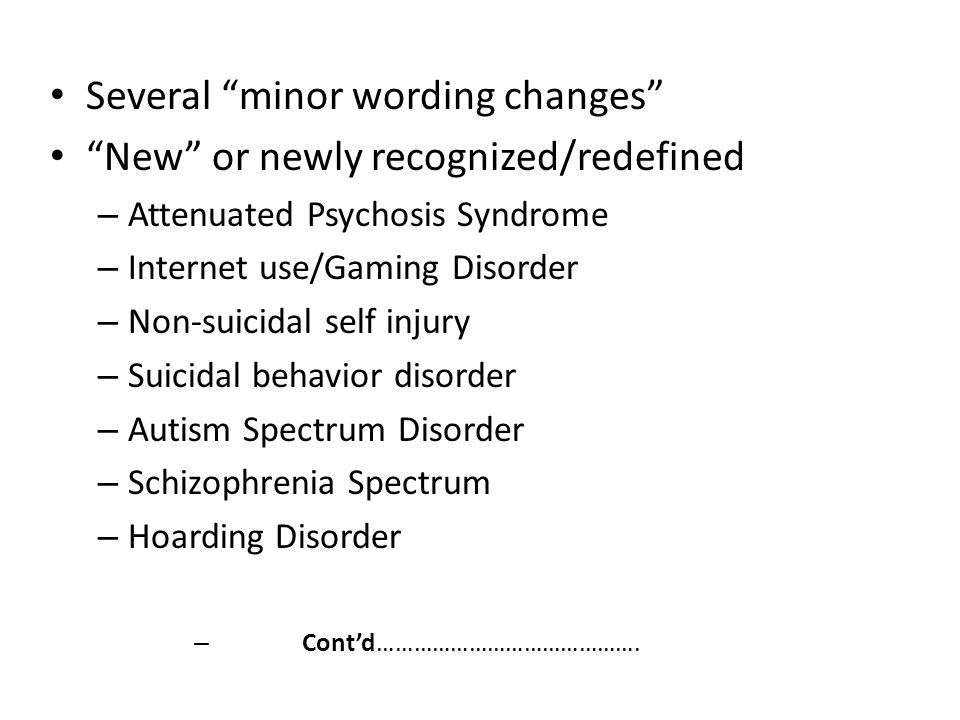 Several minor wording changes New or newly recognized/redefined
