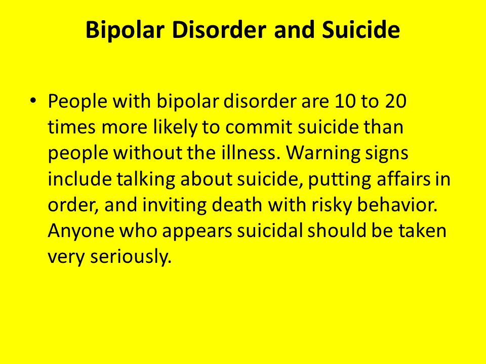 Bipolar Disorder and Suicide