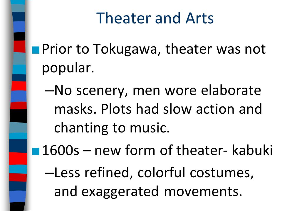 Theater and Arts Prior to Tokugawa, theater was not popular.
