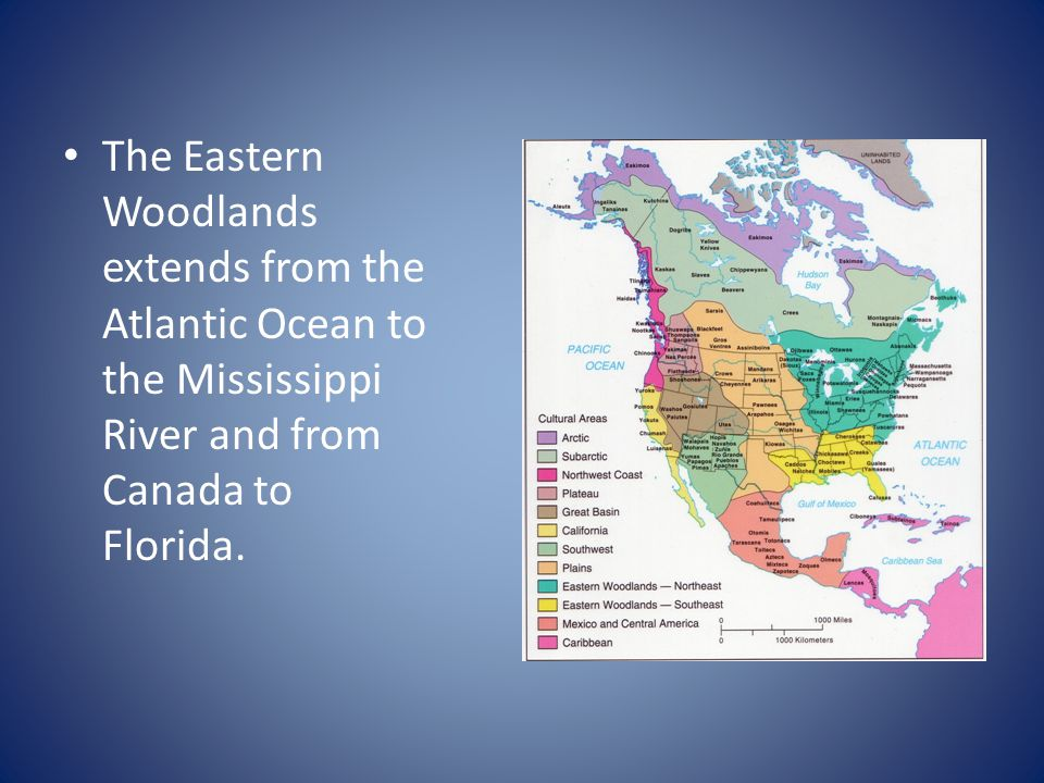 The Eastern Woodlands extends from the Atlantic Ocean to the Mississippi River and from Canada to Florida.