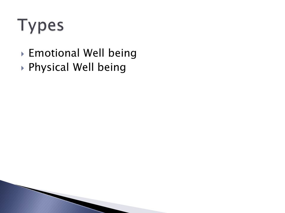 Types Emotional Well being Physical Well being