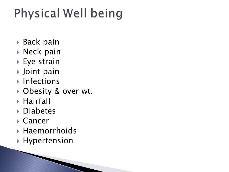 Physical Well being Back pain Neck pain Eye strain Joint pain