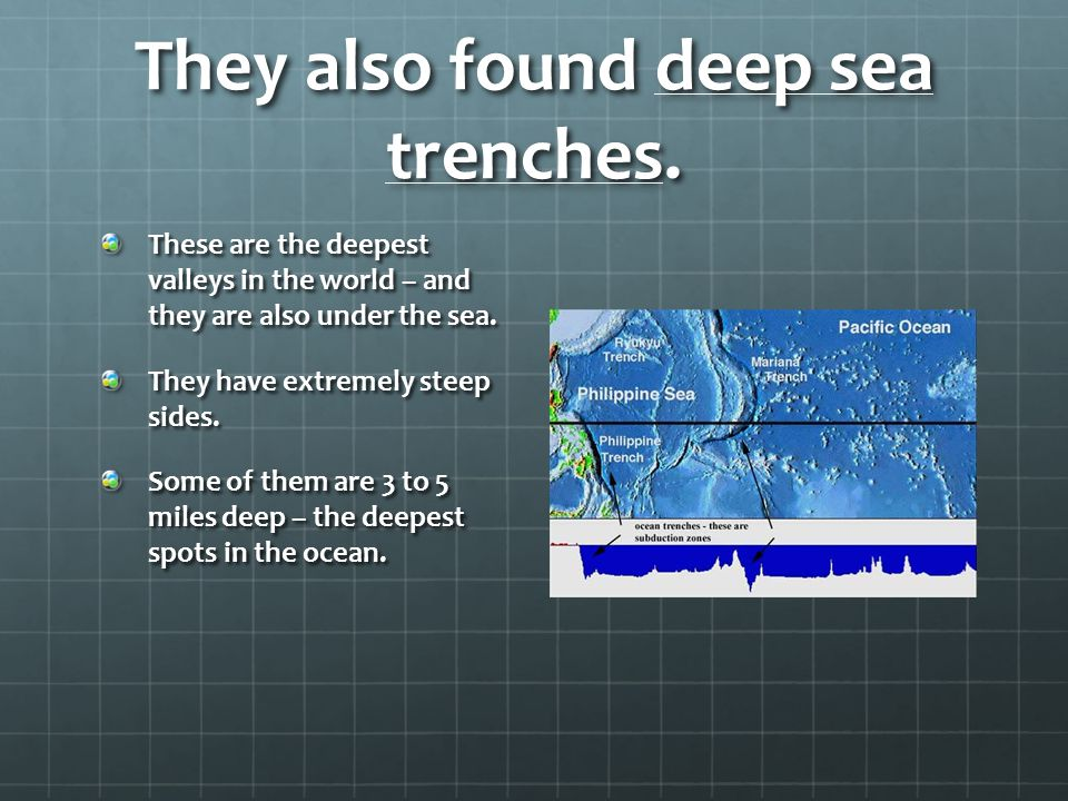 They also found deep sea trenches.