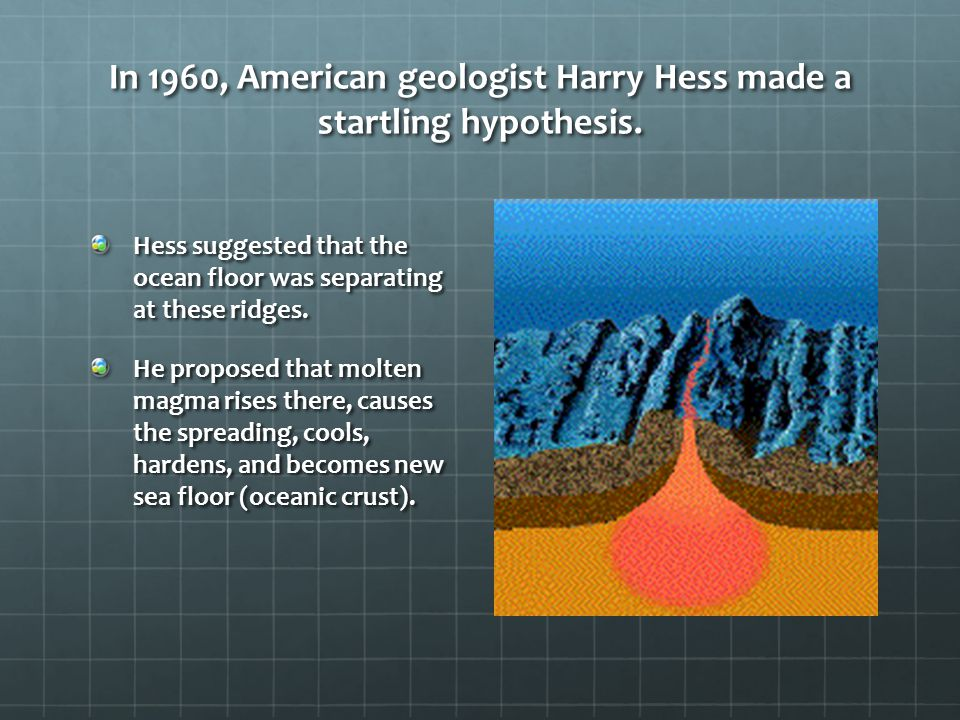 In 1960, American geologist Harry Hess made a startling hypothesis.