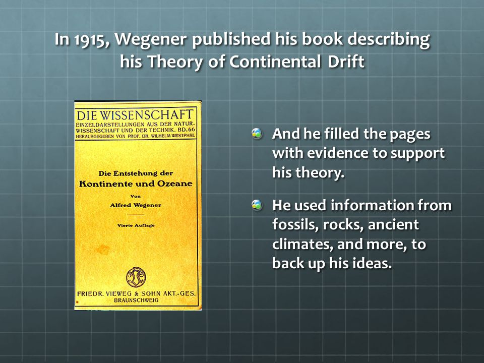 In 1915, Wegener published his book describing his Theory of Continental Drift