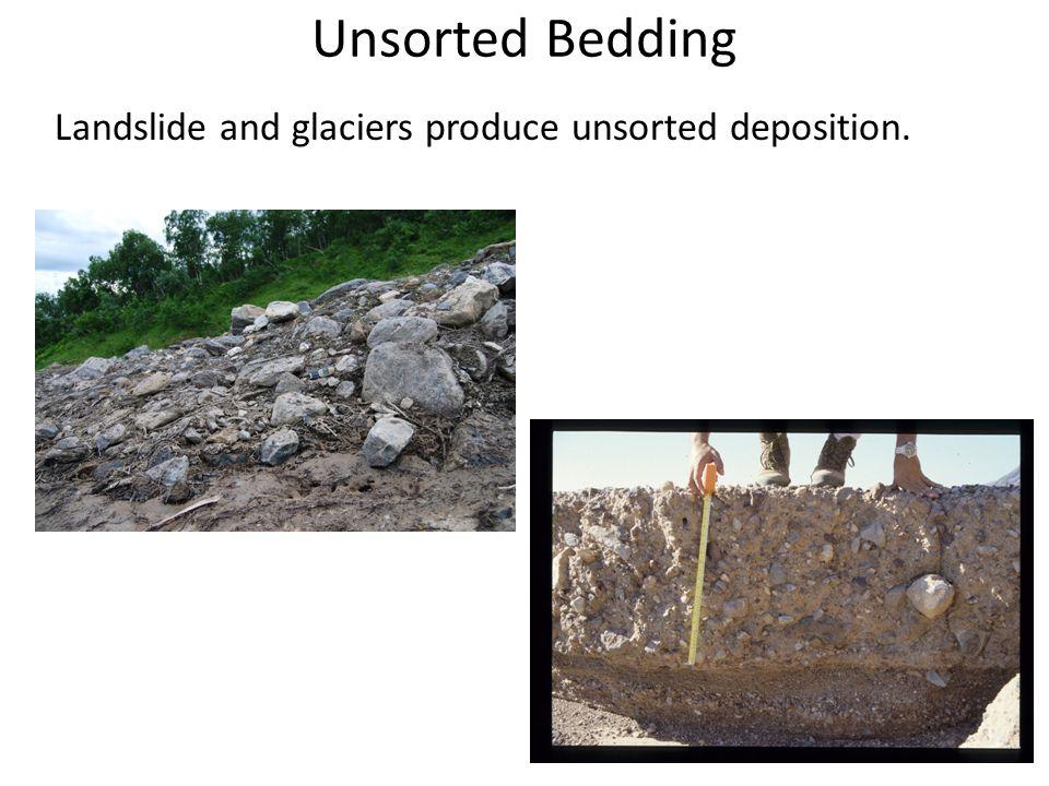 Unsorted Bedding Landslide and glaciers produce unsorted deposition.