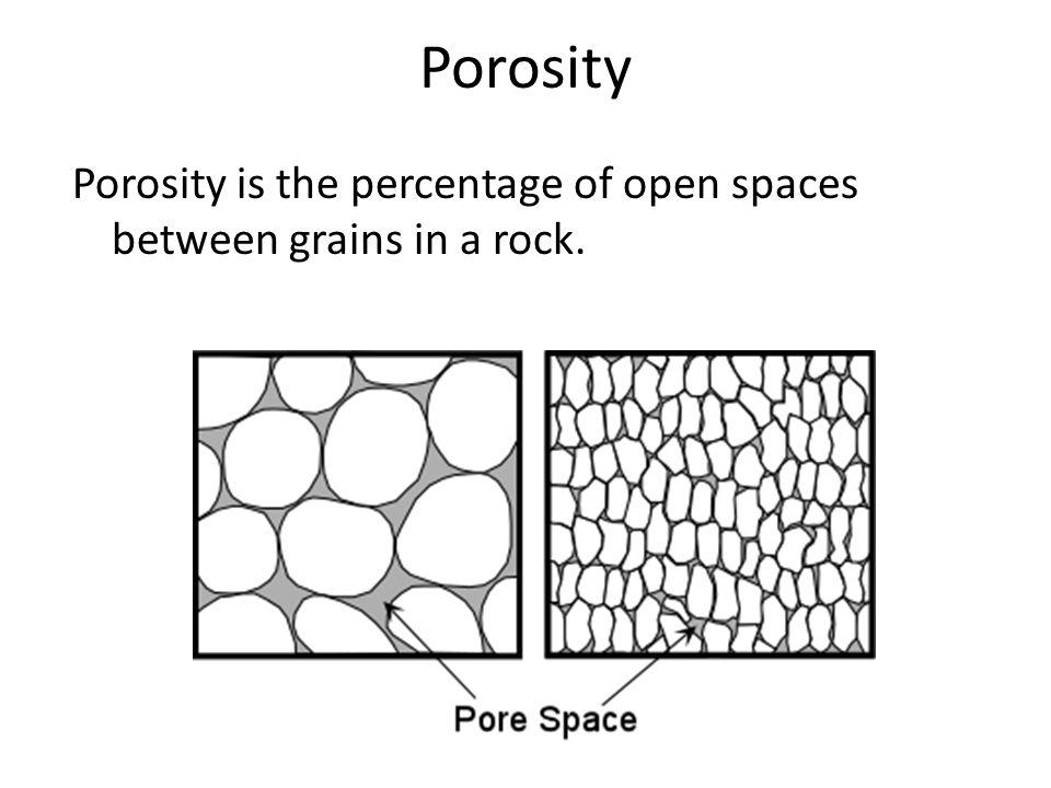 Porosity Porosity is the percentage of open spaces between grains in a rock.