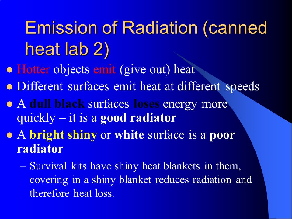 Emission of Radiation (canned heat lab 2)