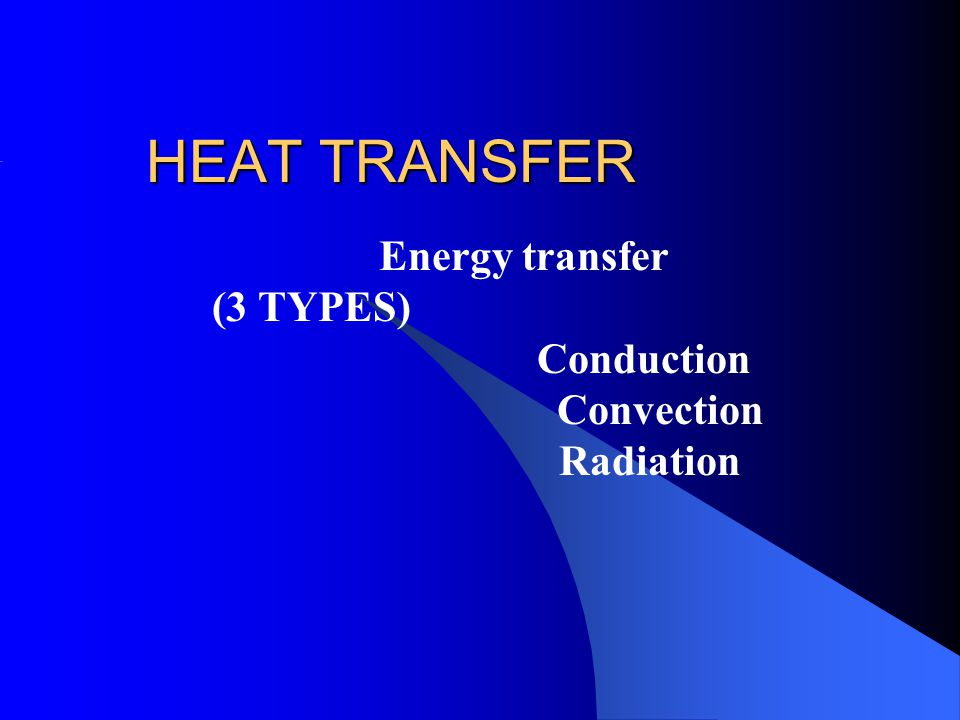 Energy transfer (3 TYPES) Conduction Convection Radiation
