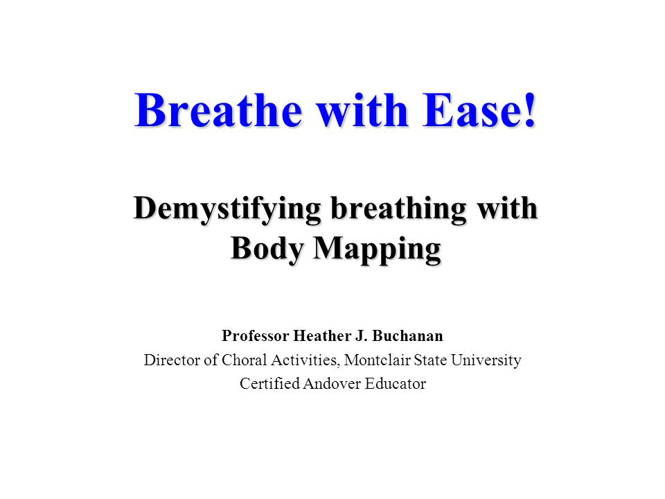 Breathe with Ease! Demystifying breathing with Body Mapping
