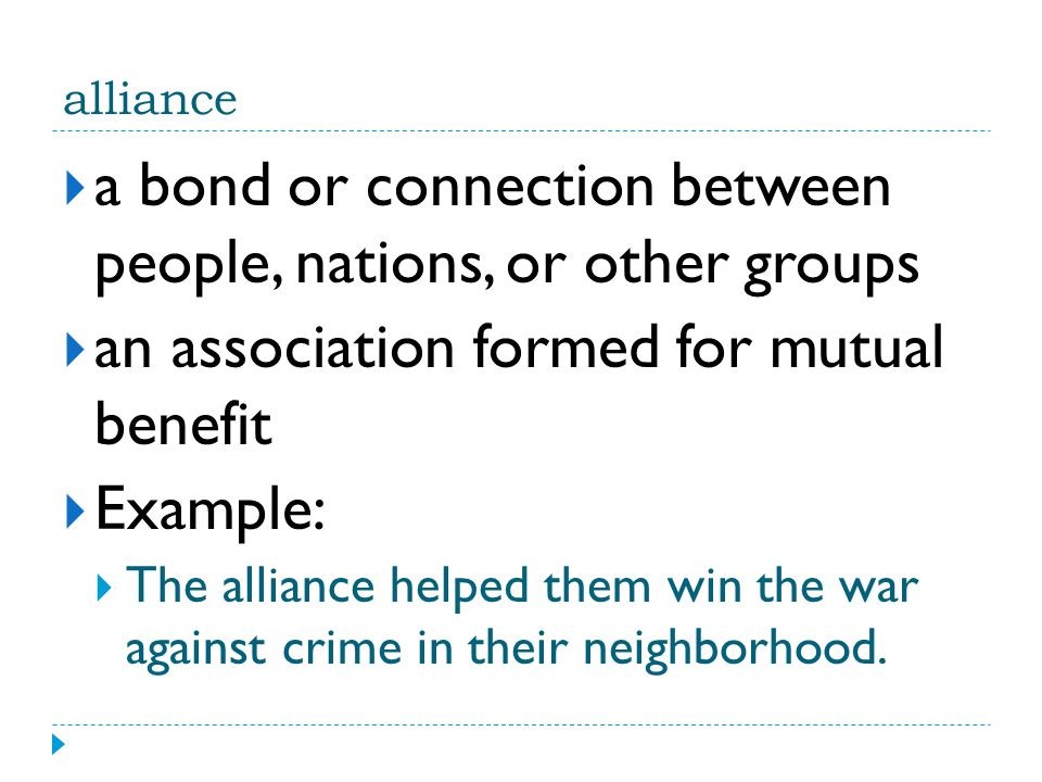 a bond or connection between people, nations, or other groups