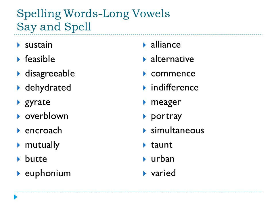 Spelling Words-Long Vowels Say and Spell
