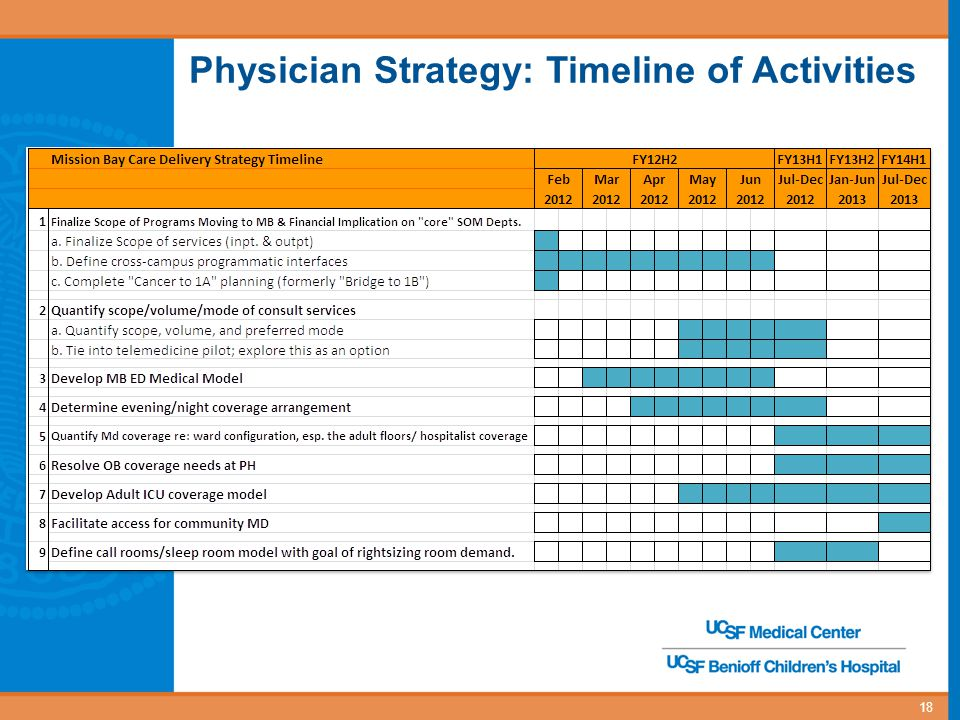 Physician Strategy: Timeline of Activities