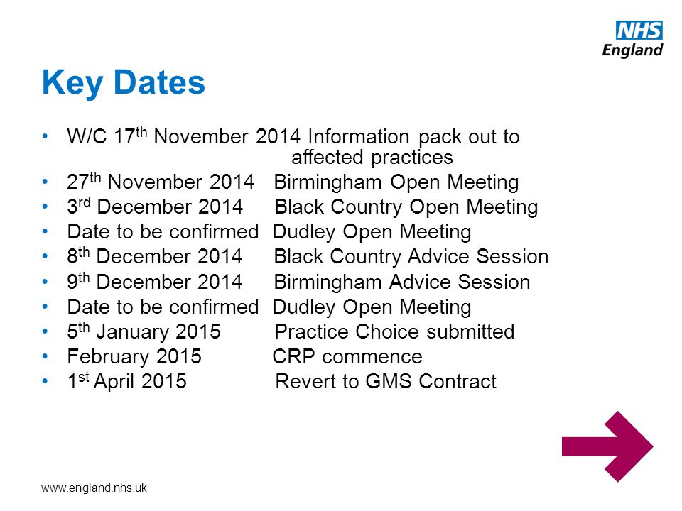 Key Dates W/C 17th November 2014 Information pack out to affected practices. 27th November 2014 Birmingham Open Meeting.