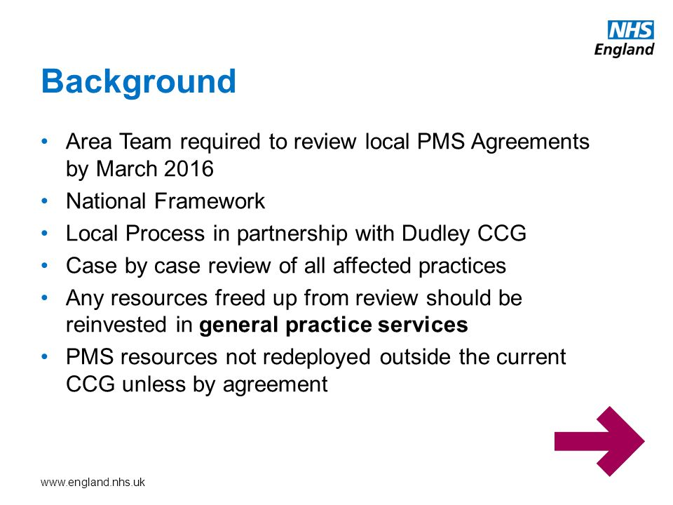 Background Area Team required to review local PMS Agreements by March 2016. National Framework. Local Process in partnership with Dudley CCG.