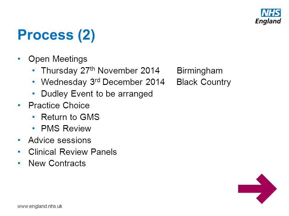 Process (2) Open Meetings Thursday 27th November 2014 Birmingham