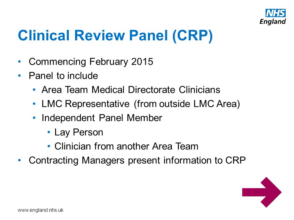 Clinical Review Panel (CRP)